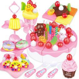 46pcs Kids Baby Strawberry Cake <font><b>Tea</b></font> Time