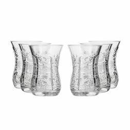 5 Oz Crystal Cut Turkish Tea Glasses, Vintage Old-Fashioned