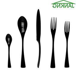 5 Pcs Black Flatware Set Cutlery Silverware Dinner Service F