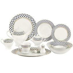 Lorren Home Trends 57-Piece Blue Border Porcelain Dinnerware
