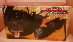5pc CAST IRON Tetsubin Tea Set w/Solid Bamboo Tray ~ Unity ~
