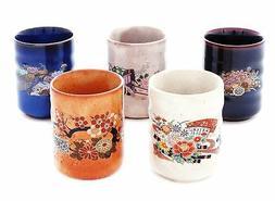 5PCS JAPANESE TEA CUPS YUNOMI KUTANI YAKI New