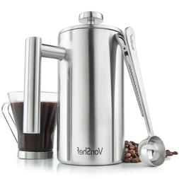 VonShef 6 Cup French Press Double Walled Stainless Steel Caf