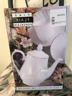 6 piece vintage Sakura Flair white porcelain tea set Circa 1