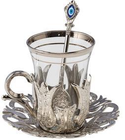 6 X CopperBull 2018 Turkish Tea Glasses Set with Saucers Hol