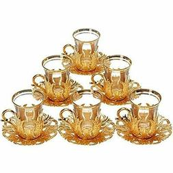 "6 X 2018 Turkish Tea Glasses Set With Saucers Holders "" Spoo"