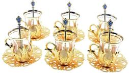 6 X Turkish Style Tea Glasses Set with Holders Spoons, XL 6.