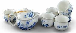 7 Pc Premium Blue and White Porcelain Tea Set Fine Tea Pot T