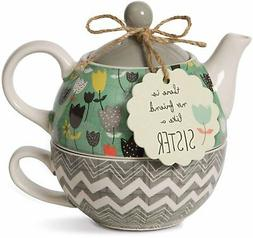 Pavilion Gift Company 74069 Bloom Sister Ceramic Tea for One