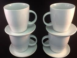 8 Pcs 12 oz White Porcelain Mugs w Saucer Set. Coffee Tea Cu