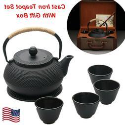 800ML Cast Iron Teapot Set Japanese Style Anti Rust Enamel I