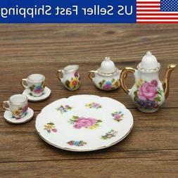 8pcs 1/6 Dollhouse Miniature Dining Ware Porcelain Rose Tea