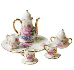 8pcs Dining Ware Porcelain Tea Set Dish Cup Plate 1/6 Dollho
