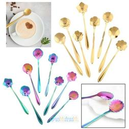 8Pcs Flower Spoon Set 304 Stainless Steel Teaspoon for Coffe