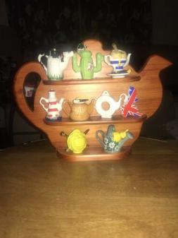 CARDEW DESIGN 9 MINIATURE TEAPOTS with WOODEN DISPLAY STAND