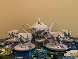 Teavana 9 piece Porcelain Tea Set New in Box Peacock Design
