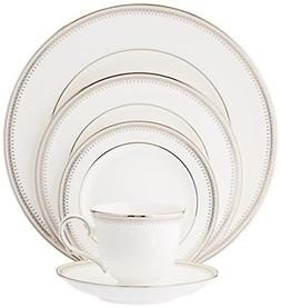 Belle Haven 5 Piece Place Setting, 4, China, Round, Platinum