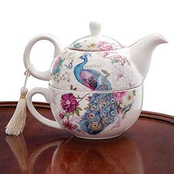 Bits and Pieces - Tea For One Peacock Porcelain Teapot and C