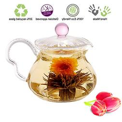 Blooming Tea Glass Teapot with Infuser Pink Fairy, 20oz/590m