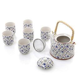 Blue Roses Design Japanese Tea Service Set with Teapot w/Bam