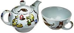 Cardew Cat-Tea Tea Set for One with 16-Ounce Pot and 10-Ounc