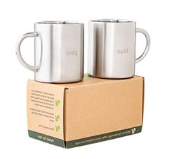 Coffee Mugs Tea Cups Stainless Steel with Laser Words Blue -