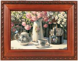 Cottage Garden Tea Time Woodgrain Music Box / Jewelry Box Pl