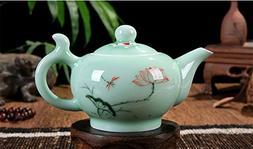 DELIFUR Celadon Handcrafted Porcelain Tea Set Lotus Theme Po