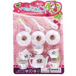 Dazzling Toys Mini Tea Set for Girls & Boys, 12 Piece Preten