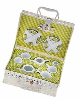 Delton Products Bunny Large Dollies Tea Set in Basket