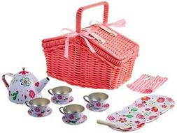 Delton Products Children's Tin Tea Set with Pink Daisies