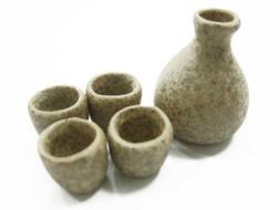 Dollhouse Miniature Ceramic 5 Japanese Kitchen Tea Set Cups
