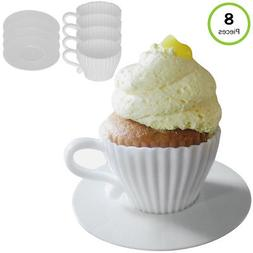 Evelots Silicone Baking Teacups With Saucers-Cupcake Mold-Te