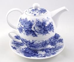 Fine English Bone China Tea for One - Teapot and Cup Set - E