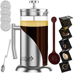French Press Coffee & Tea Maker Complete Bundle | 34 oz | BE