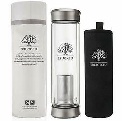 Glass Tea Infuser Travel Mug with Strainer | 14oz Tea Tumble