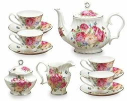 Gracie Bone China 11-Piece Tea Set, Pink Sandra's Rose