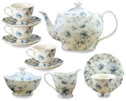 Gracie China Blue Rose Chintz 11-Piece Tea Service, 4-Cup Te