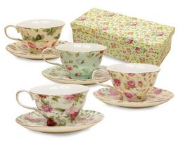 Gracie China Rose Chintz 8-Ounce Porcelain Tea Cup and Sauce