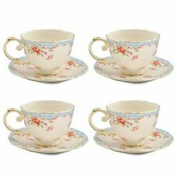 Gracie China Vintage Blue Rose Porcelain 7-Ounce Tea Cup and