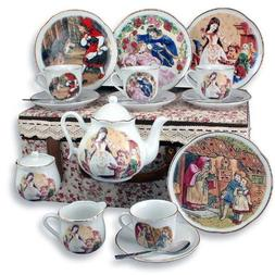 Grimm Fairy Tales Large Child Tea Set in Case Collectible By