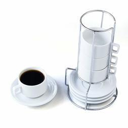 HIC 9-Piece Stackable Espresso Coffee Set, Fine White Porcel