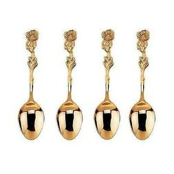 HIC Gold Plated Rose Demi Spoon - Set of 4