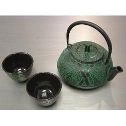 Rikyu Ts20 06g Cast Iron Tea Pot Set Green 18 Oz