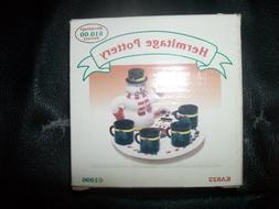 "Hermitage Pottery 7 Piece Tea Set ""Snowman"""