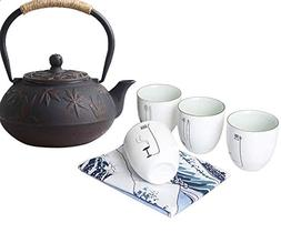 Hwagui - Best Cast Iron Teapot With 4 Chinese Style Porcelai