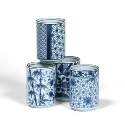 Japanese Assorted Blue and White Teacup Gift Set with Four A