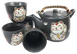 Japanese Design Maneki Neko Lucky Cat Black Ceramic Tea Pot