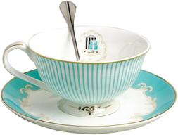 Jusalpha Vintage Blue Bone China Teacup Coffee Cup Spoon and