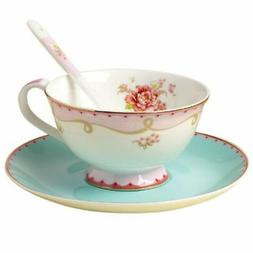 Jusalpha Vintage Rose Bone China Teacup Spoon and Saucer Set